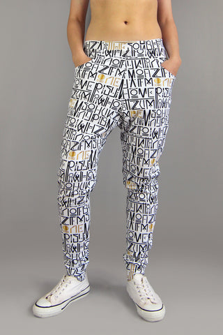HoverStuff Jogger Pants in Pixacao Print, Unisex, Organic cotton