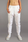 HoverStuff Jogger Pants in White, Unisex, Organic cotton