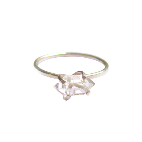 Aoko Su handmade silver and raw herkimer diamond ring