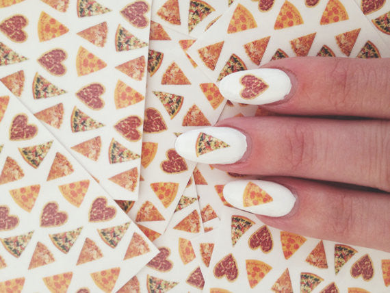Trixxie x HOTGIRLSEATINGPIZZA, pizza party nail decals - set of 32 nail decals