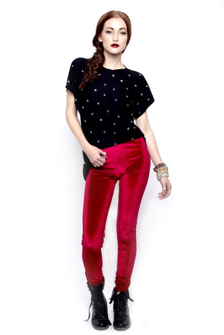 Marialia Red Velvet Leggings