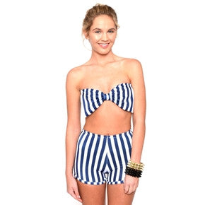 Marialia Nautical Stripe Bandeau Swimsuit Set