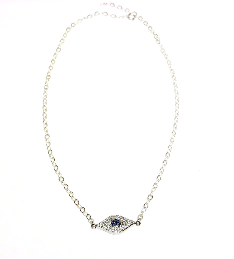 Silver Crystal Eye Necklace - MINU Jewels