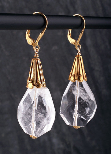 Quartz Gold Earrings - MINU Jewels