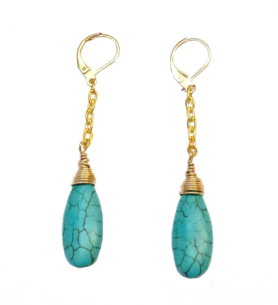 Turquoise Long Drop - Gold or Silver - MINU Jewels - 1