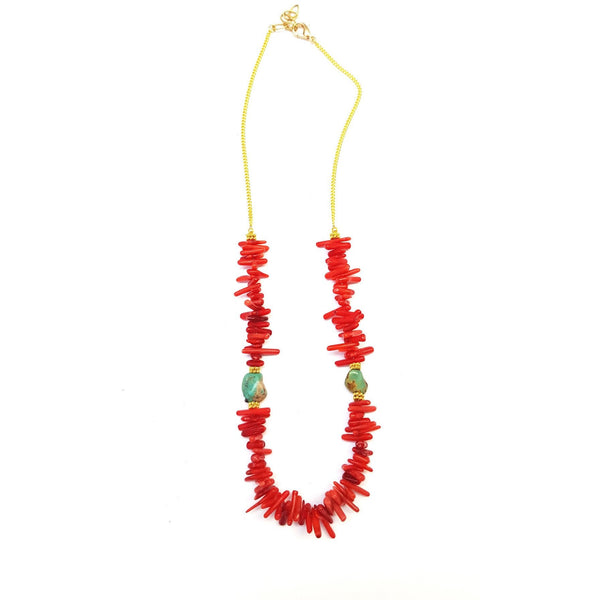 Coral Splash Necklace.  Made of coral chips with turquoise and gold-plated accents.