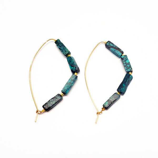 Slider Turquoise Hoops - Silver or Gold