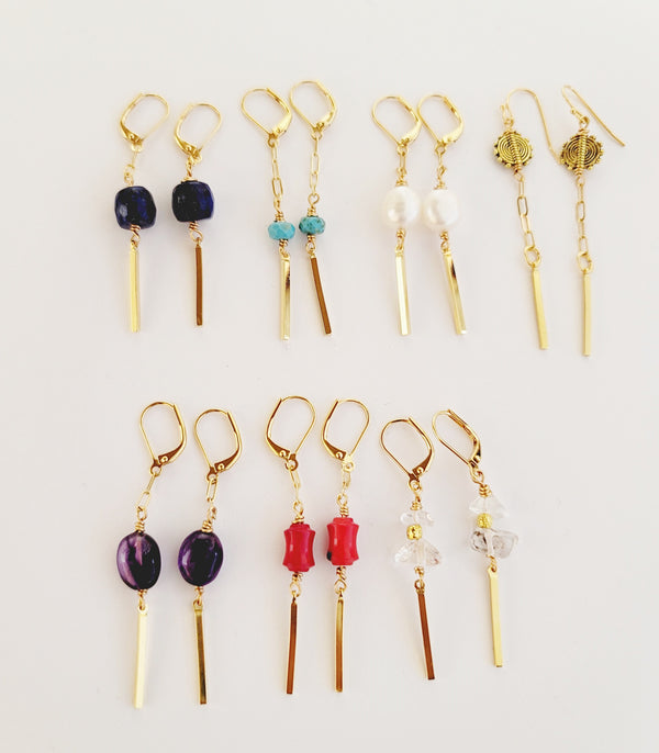 Bar Drop Earrings - Colors Available