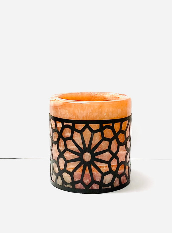Peach Alabaster Large Candle Holder