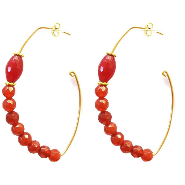 Crescent Gemstone Hoops - Colors Available - MINU Jewels