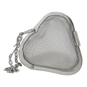"2"" Stainless Steel Mesh Heart Shaped Tea & Spice Infuser"