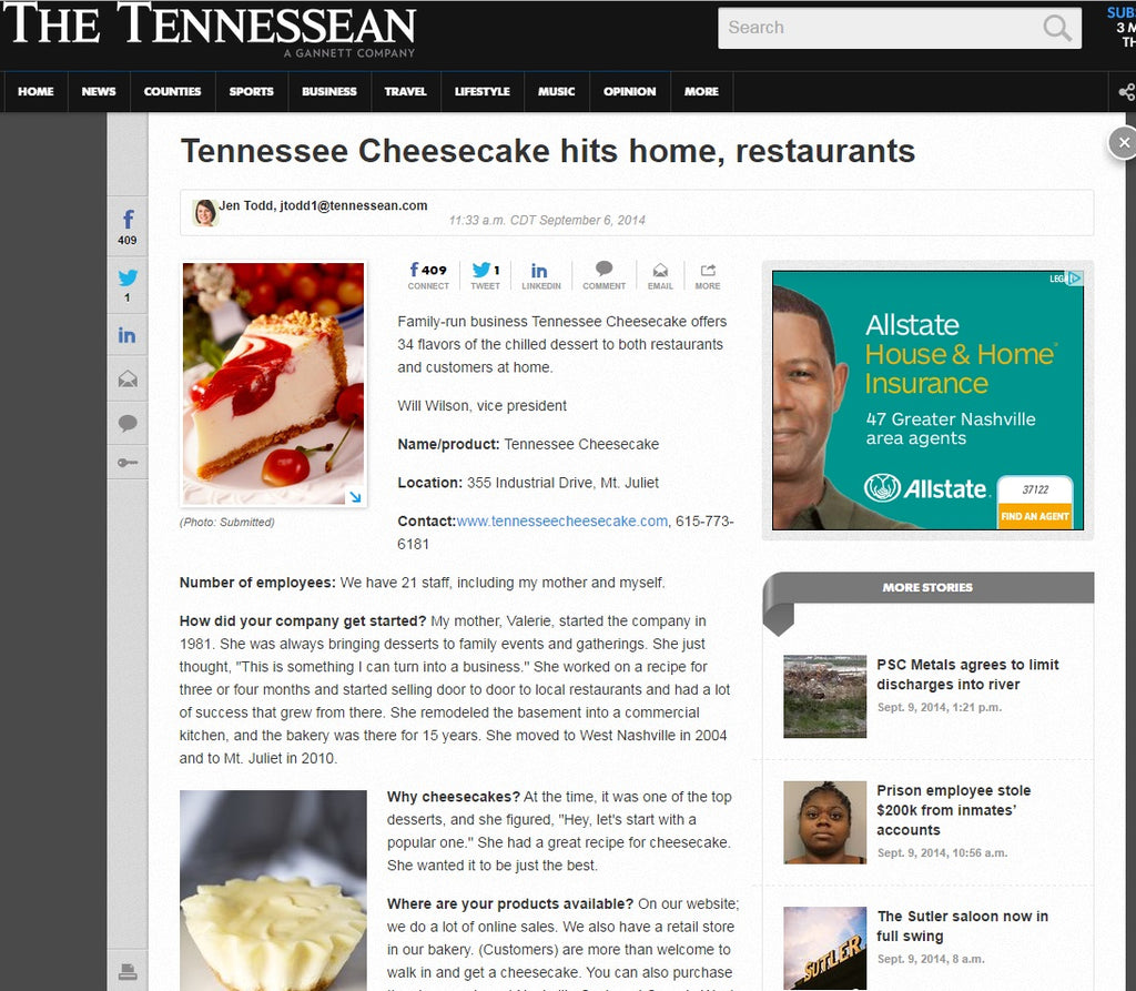 Tennessee Cheesecake hits home, restaurants