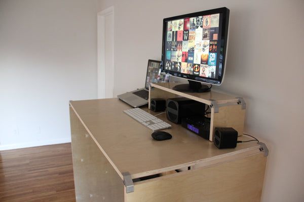 DIY plywood standing desk with PLY90 plywood clip bracket
