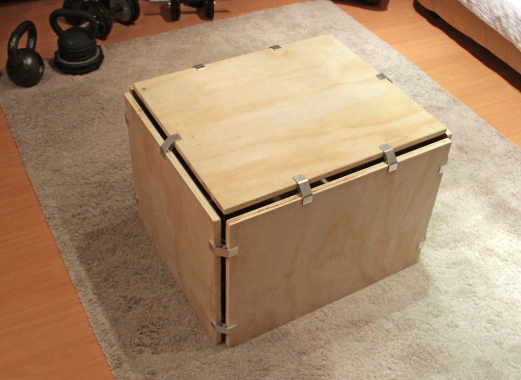 DIY plywood plyometric box with PLY90 plywood clip bracket