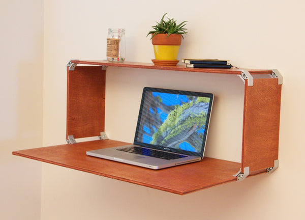 DIY plywood wall desk with PLY90 plywood clip bracket