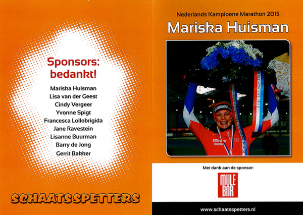 Congratulations to Mariska Huisman, Dutch ice skating champion sponsored by MuleBar energy bars, gels and protein bars