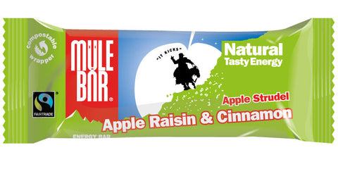 The new look Apple Strudel and Hunza Nut MuleBar energy bars.