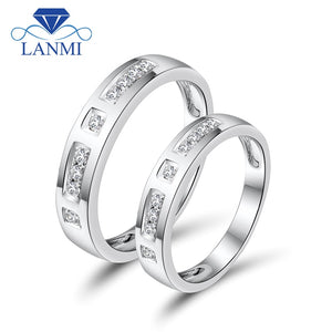 c059ee8644 Romantic Lover Solid 18K White Gold Couple Rings Natural Diamonds For  Engagement Jewelry WU141