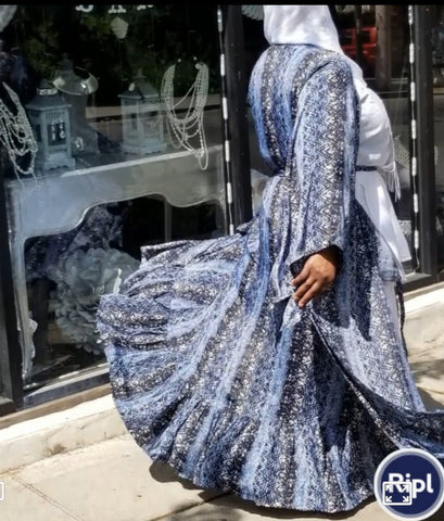 Blue & White Snake skin Duster
