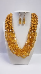 Mustard Lucite and Beads Necklace