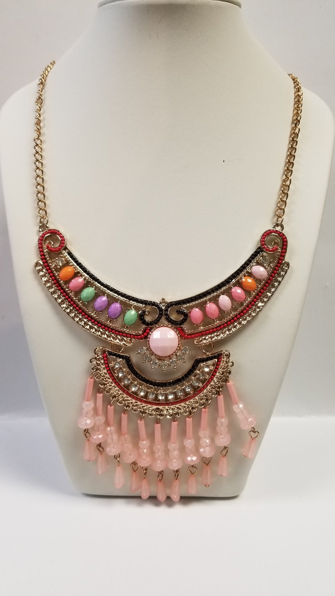 Pink Tribal Necklace