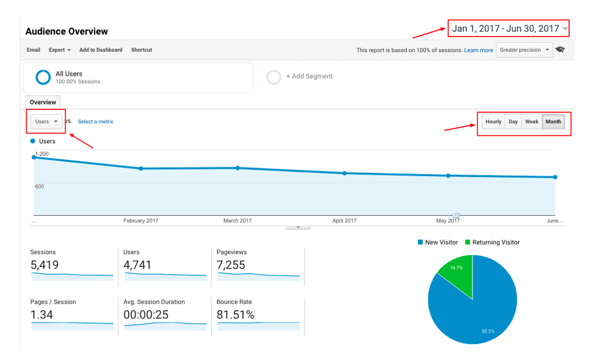 Users view in Google Analytics