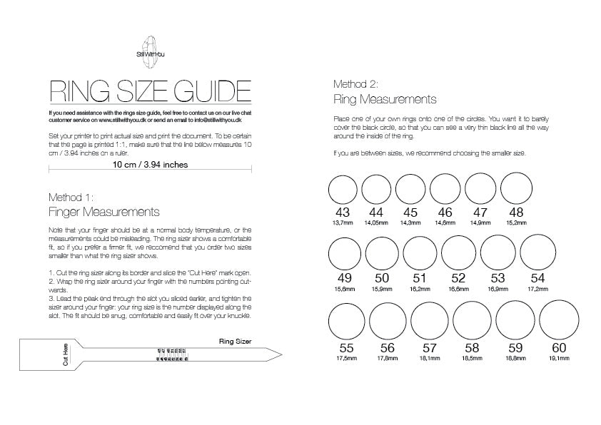 ring size guide printable, ring size chart