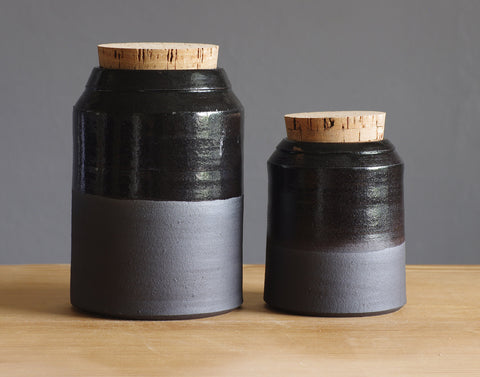 Black Tall Jar Pair