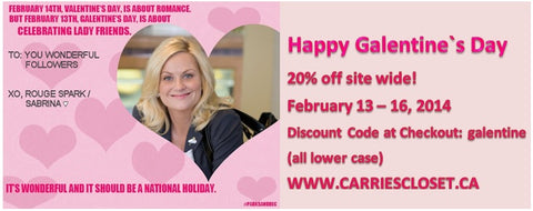 Galentine`s Day Sale and Contest! Win $100 at CarriesCloset.ca
