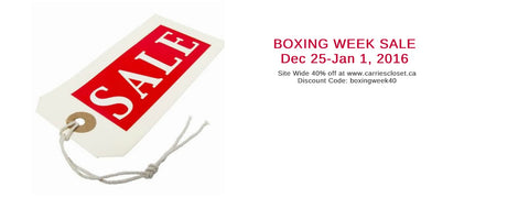 40% Boxing Week Sale at CarriesCloset.ca discount code: boxingweek40