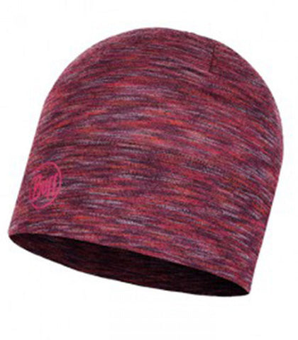 Buff Beanie Midweight Merino Wool Hat Shale Grey Multi Stripes