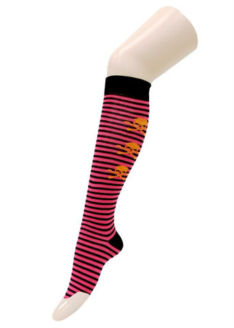 Pink and Black Stripe with Orange Skulls Knee High Socks - Carrie's Closet