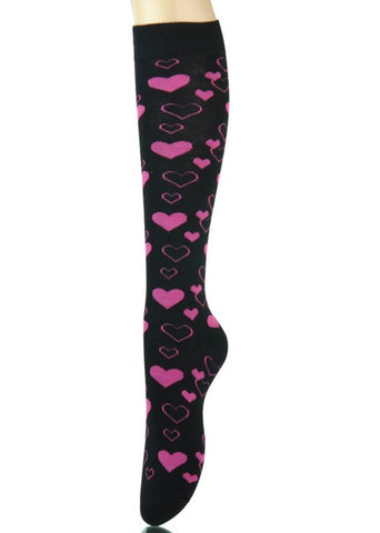 Black Knee High Socks with Hearts - Carrie's Closet
