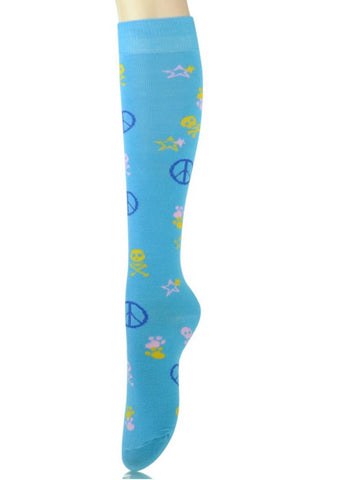 Blue Peace and Skull Knee High Socks - Carrie's Closet