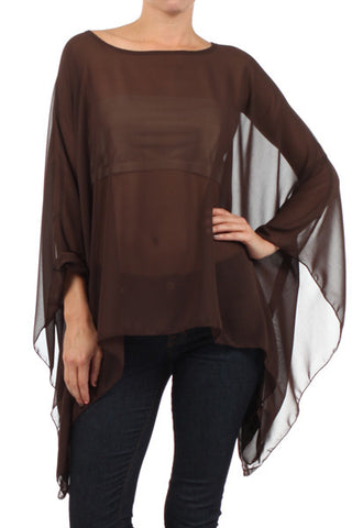 Brown Sheer Kimono Poncho - One Size - Carrie's Closet