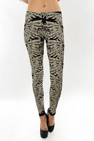 Skull & Feather Leggings in Gray - Carrie's Closet