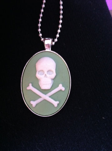 "Ivory skull on Light Green Cameo Necklace 20"" chain - Carrie's Closet"