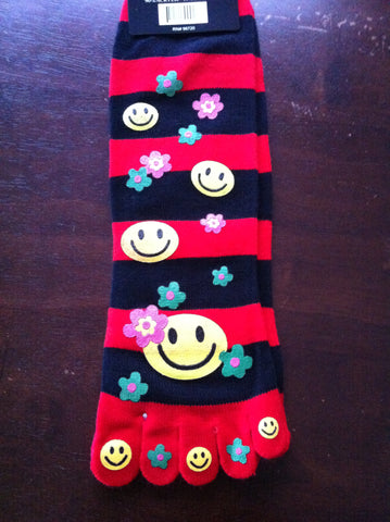 Happy Face Toe Socks with Flowers - Carrie's Closet  - 1