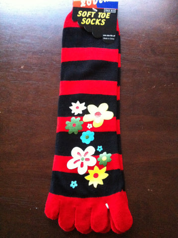 Flower Toe Socks with red and black stripes - Carrie's Closet