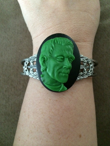 Green Frankenstein on Black Resin Cameo Cuff Bracelet - Carrie's Closet