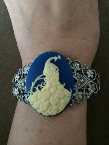 Ivory Peacock on Blue Resin Cuff Bracelet - Carrie's Closet  - 1
