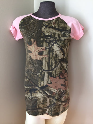 Pink Camouflage Raglan tshirt - Carrie's Closet  - 1