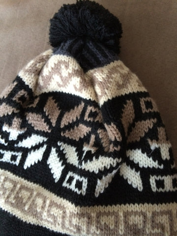 Brown and Beige Knit Fleece Lined Trapper Hat with braids and tassles - Carrie's Closet