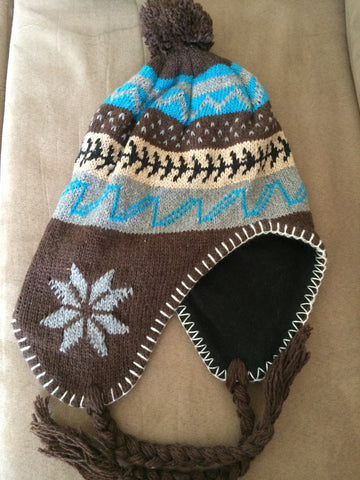 Brown and Teal Knit Fleece Lined Trapper Hat with braids and tassles - Carrie's Closet  - 1