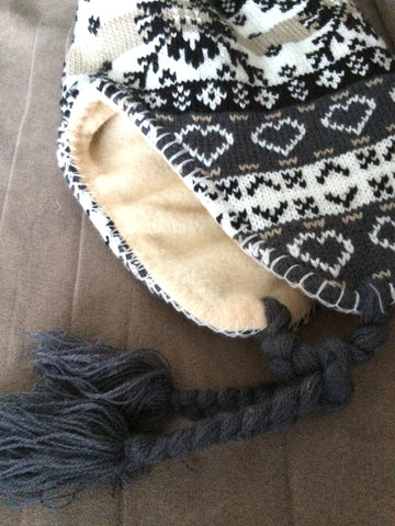 Earth Tones Snowflake Pattern  Knit Fleece Lined Trapper Hat with braids and tassles - Carrie's Closet  - 1