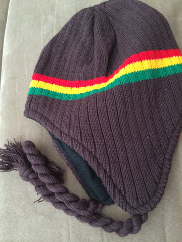 Brown Rasta Knit Fleece Lined Trapper Hat with braids and tassles - Carrie's Closet  - 1