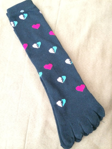 Navy Toe Socks with colorful mended hearts - Carrie's Closet
