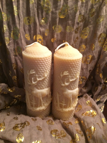 Set of 2 New Hand Rolled Elk Honeycomb 100% Beeswax Candles - Carrie's Closet