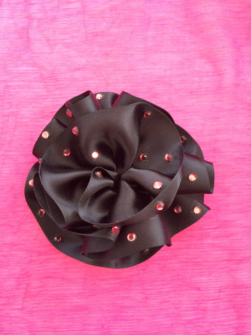 Black with Pink Bling Fascinator Hair Clip - Carrie's Closet