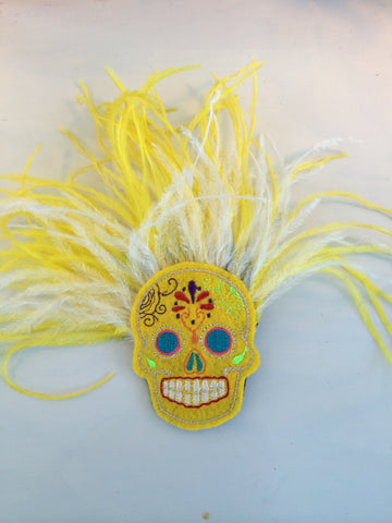 Yellow Sugar Skull Day of the Dead Hair Fascinator - Carrie's Closet